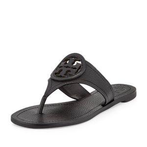 Tory Burch Louisa Leather Flip Flop Black Size 6
